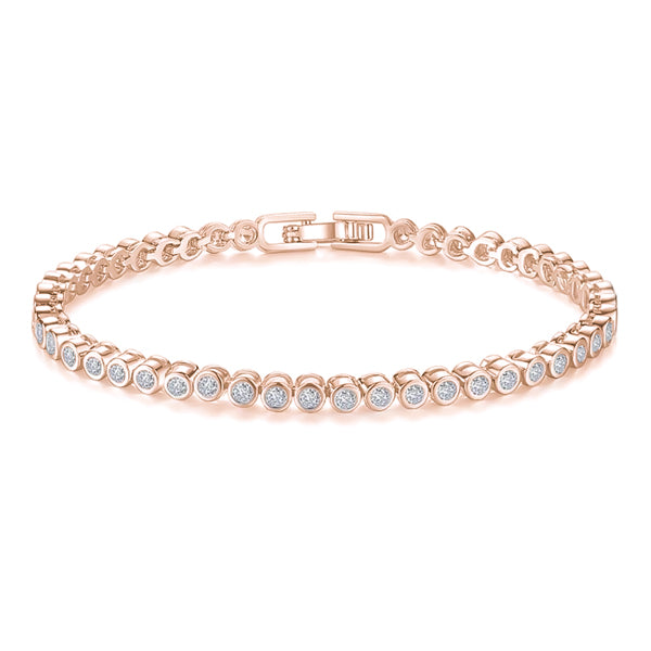 Rose gold-plated round tennis bracelet
