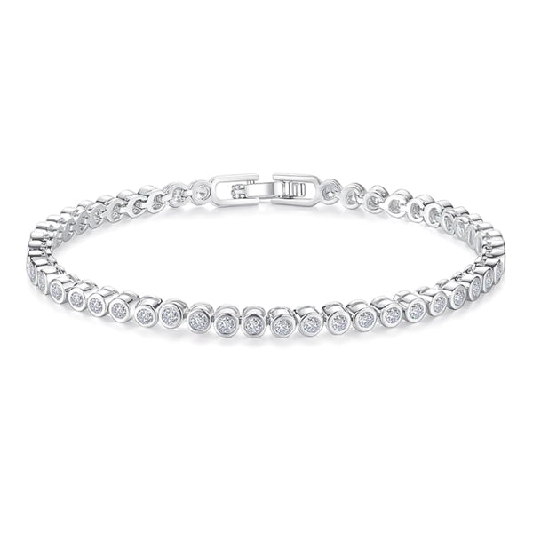 Silver-plated round tennis bracelet