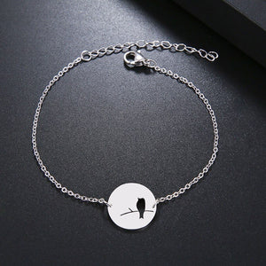 Waterproof silver bird bracelet