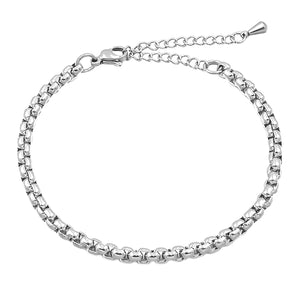 Silver box chain anklet