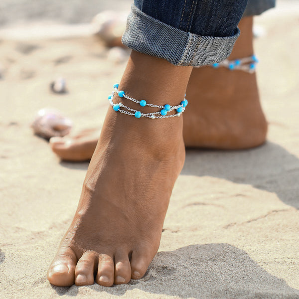 Silver turquoise ankle bracelet