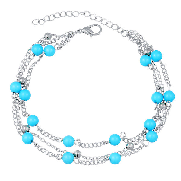 Silver & Turquoise Layered Anklet