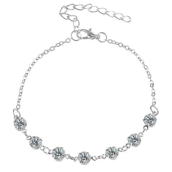 Classy Women Silver Delicate Crystal Anklet