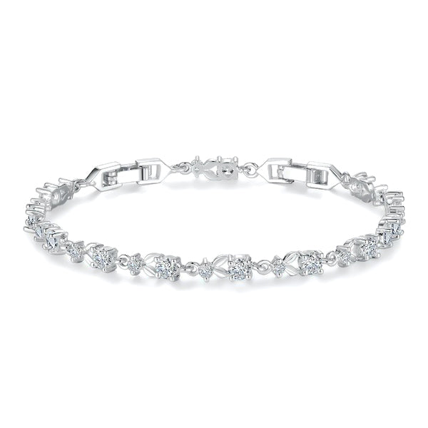 Silver crystal chain bracelet