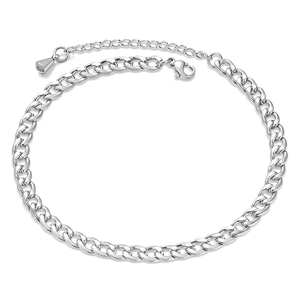 Silver curb chain anklet