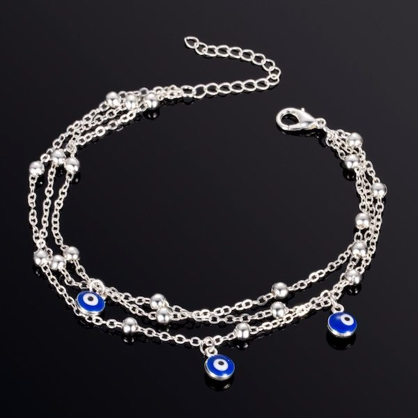 Silver layered evil eye anklet for women