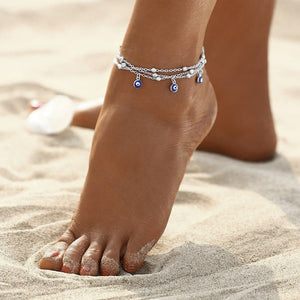 Silver layered evil eye ankle bracelet