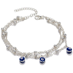 Silver layered evil eye anklet