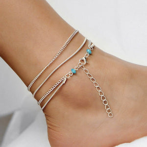 Silver multilayer chain anklet with turquoise beads