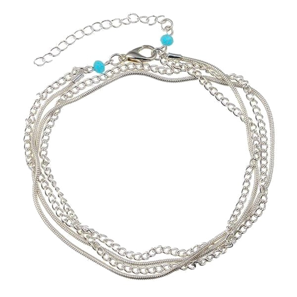 Silver Multilayer Chain Anklet