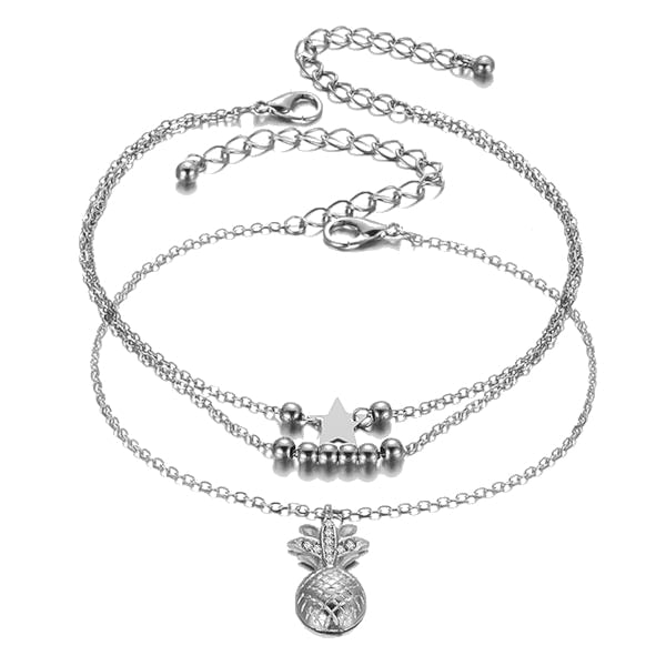 Silver Pineapple Anklet Set