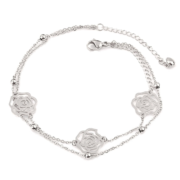Silver rose flower anklet