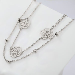 Two-layer silver rose flower anklet