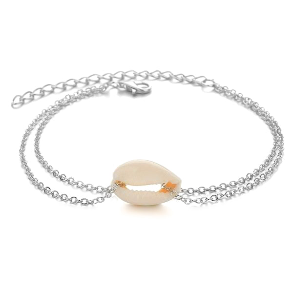 Delicate silver seashell anklet