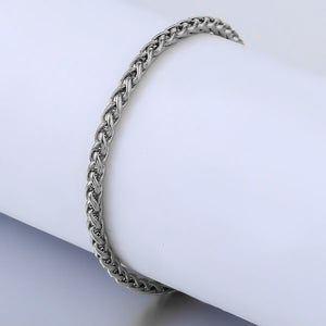 Silver wheat chain ankle bracelet