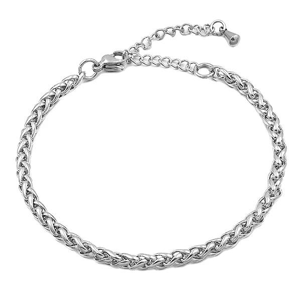 Silver wheat chain anklet made of stainless steel
