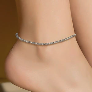 Silver wheat chain anklet