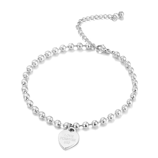 Silver beaded heart charm anklet