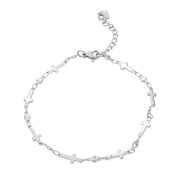 Silver cross chain anklet