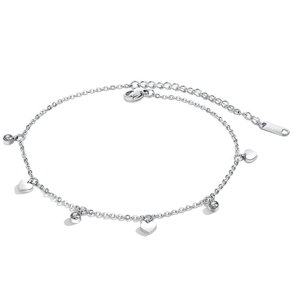 Silver love charm anklet with heart and crystal pendants