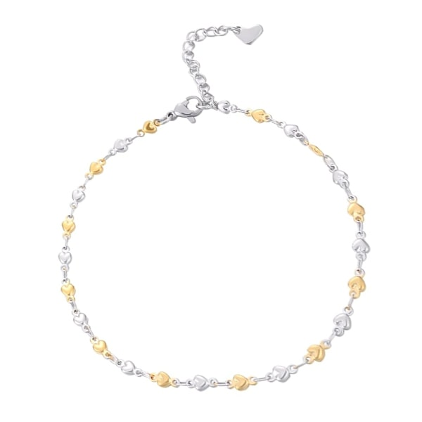 Silver & gold heart chain anklet