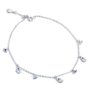 Silver Hamsa hand charm anklet