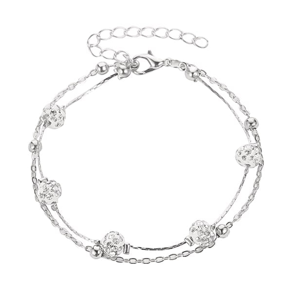Silver layered crystal anklet