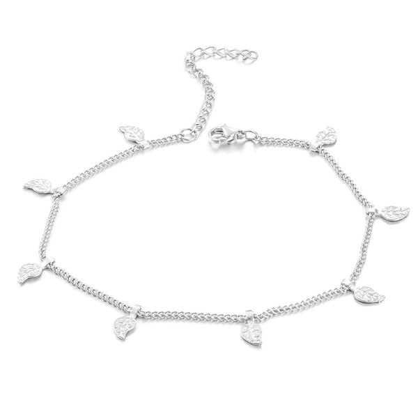 Silver leaf lucky charm anklet