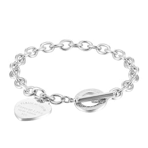 Silver love heart chain bracelet