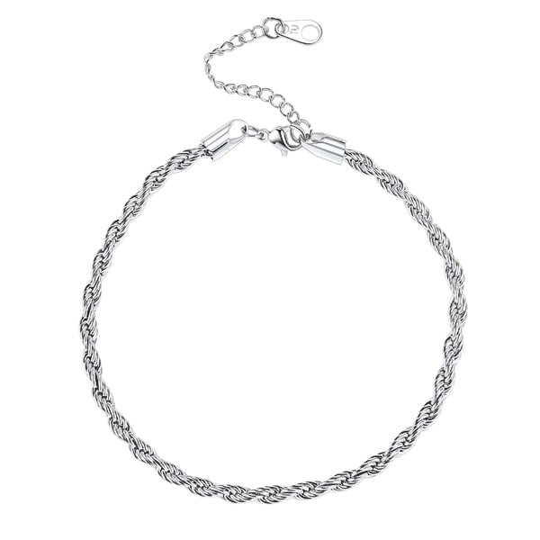 Silver rope chain anklet on a white background