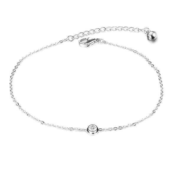 Silver simple crystal anklet on a white background