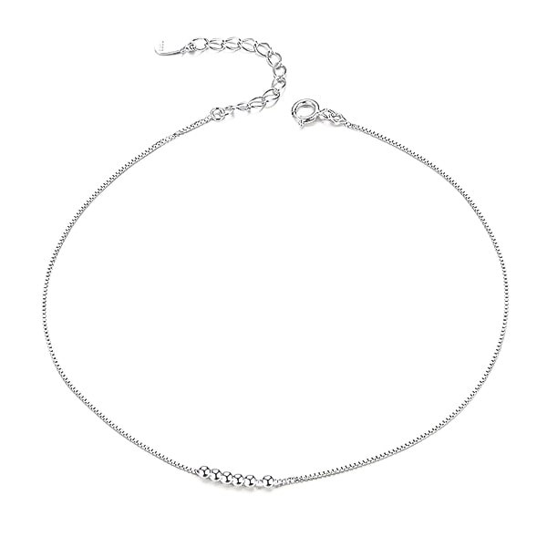 Silver small bead anklet