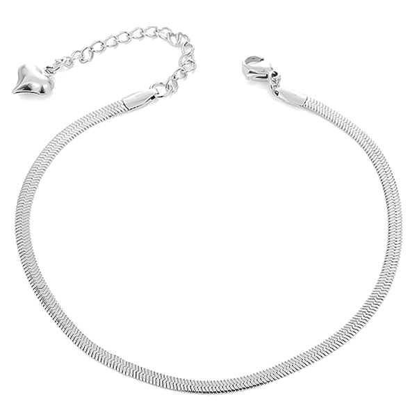 Silver snake chain anklet on a white background