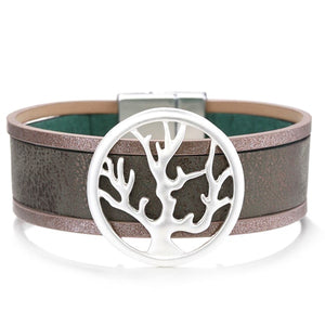 Silver tree of life leather cuff bracelet