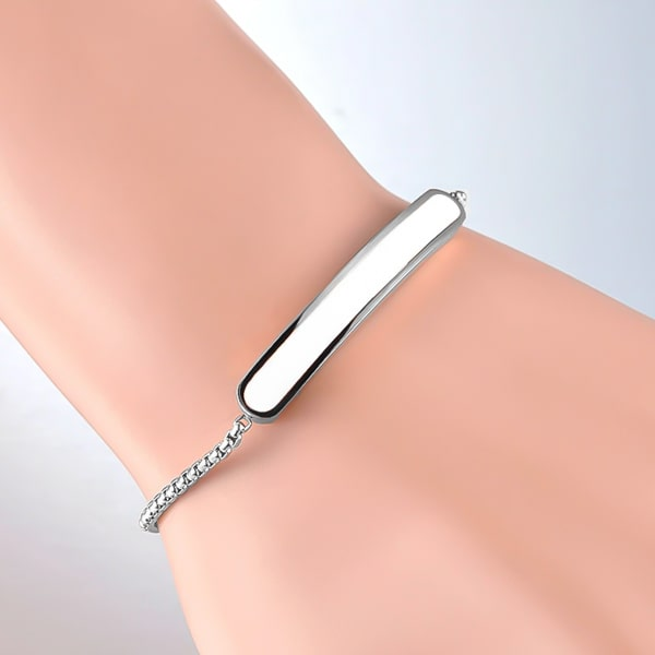 Silver white bar bracelet on a woman's wrist