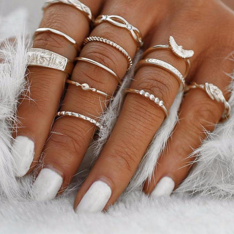 Classy Women Silver Ring Set (12 pieces) | Ring - Classy Women Collection