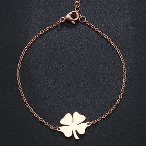 Four-leaf clover bracelet made of rose gold-toned stainless steel