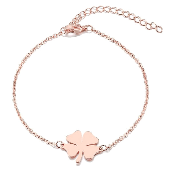 Simple rose gold clover luck bracelet