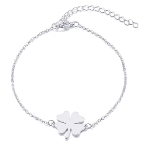 Simple silver clover luck bracelet