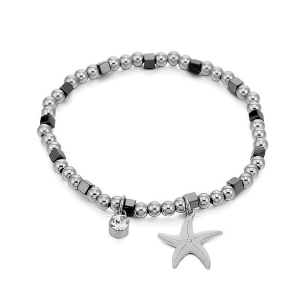 Starfish bracelet made with stainless steel beads