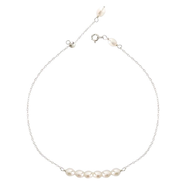 Sterling silver pearl anklet with white freshwater pearls