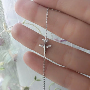 Sterling silver airplane bracelet close up