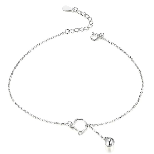 Silver cat anklet