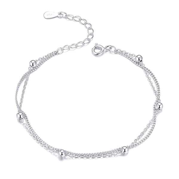 Sterling silver layered beads bracelet