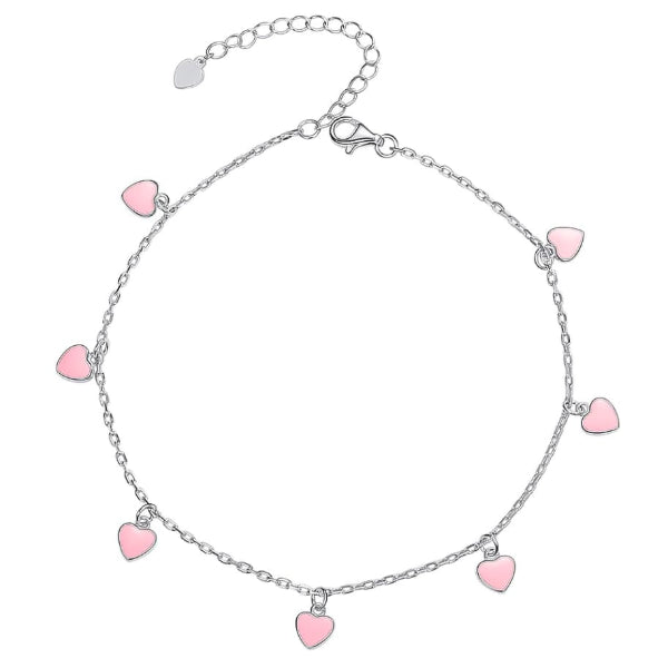 Sterling silver pink hearts charm anklet