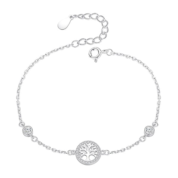 Sterling silver tree of life chain bracelet