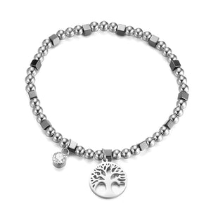Tree of life bracelet made with stainless steel beads