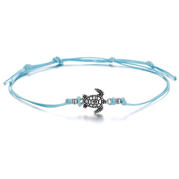Turquoise cord anklet with turtle charm
