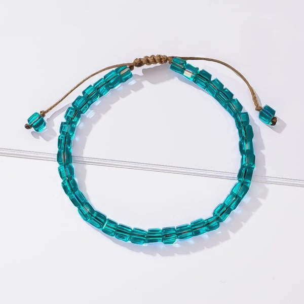 Handmade bracelet with turquoise ocean square crystal beads