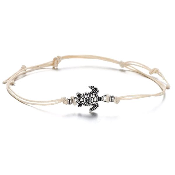 Ivory white cord anklet with turtle charm